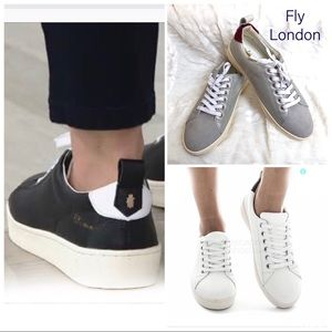💚50%OFF Fly London Maco Leather Silver Sneakers